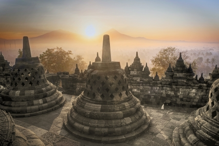 Picture of Borobudur Temple at sunrise in Java island,  Indonesia
