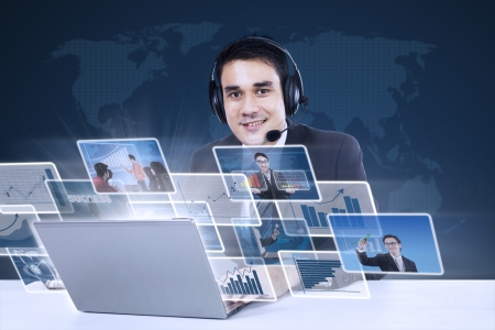 Customer service with internet online on blue world map background