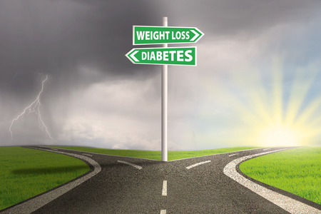 Guidepost to choose weight loss or diabetes. shoot outdoors