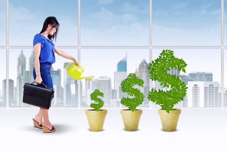 Portrait of businesswoman holding briefcase and watering the money tree to keep its growth