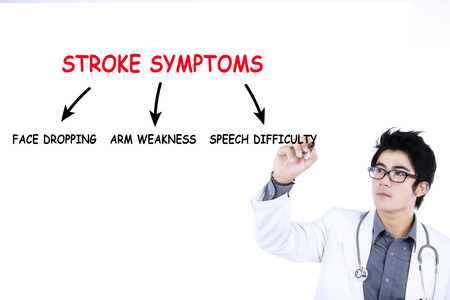 Doctor writes stroke symptoms on whiteboard, isolated on white background
