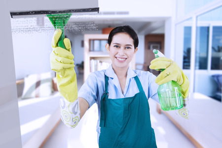 Portrait of friendly maid wearing uniform and apron, cleaning a mirror with a spray while smiling