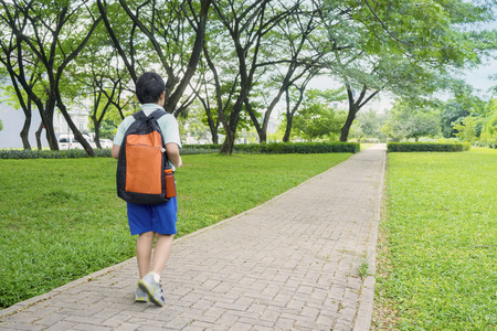 Foto de Rear view of male elementary school student walking alone to school while carrying backpack - Imagen libre de derechos