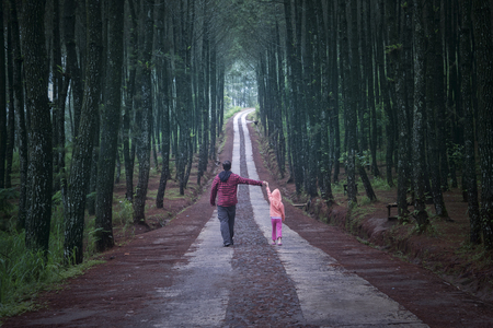 Foto de Young man walking in the pine forest while holding hands with his daughter - Imagen libre de derechos