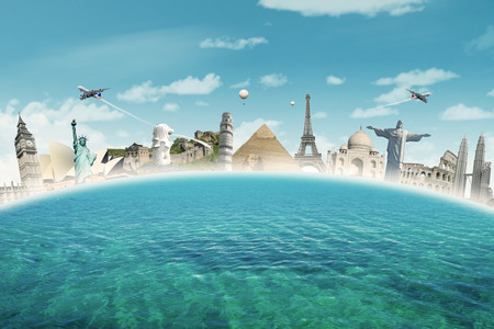 Image of famous landmarks of the world put together on the sea. Concept of travelling to around the world