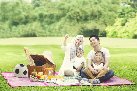 Photo pour Portrait of beautiful woman pointing to something while picnicking with her family in the park - image libre de droit