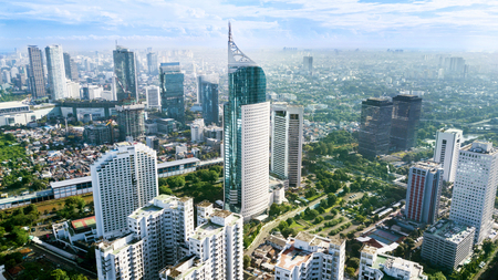 Foto de JAKARTA - Indonesia. March 12, 2018: Aerial photo of iconic BNI 46 Tower with located in South Jakarta Central Business District, - Imagen libre de derechos