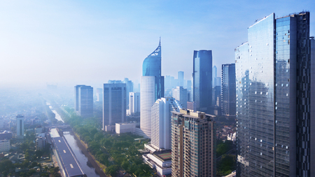 Foto de Aerial view of Jakarta cityscape with modern high buildings. Shot in the misty morning - Imagen libre de derechos