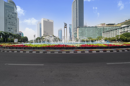 JAKARTA - Indonesia. September 18, 2018: Beautiful Hotel Indonesia roundabout under blue sky in Central Jakarta, Indonesia