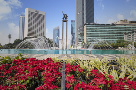 JAKARTA - Indonesia. September 18, 2018: Beautiful fountain in the Hotel Indonesia roundabout with Welcome monument in Jakarta, Indonesia