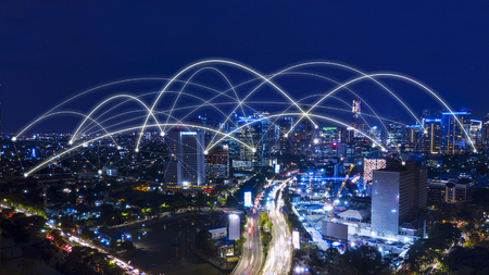 Photo pour Aerial view of beautiful Jakarta cityscape with connection network at night time - image libre de droit