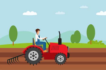 Illustration pour Agriculture vector concept: Farmer plowing the farmland with a tractor - image libre de droit