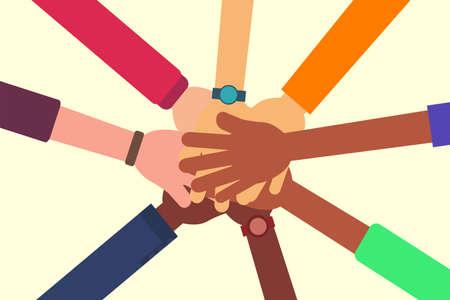 Illustration pour Friendship vector concept: closeup of diverse people's hands holding each other - image libre de droit