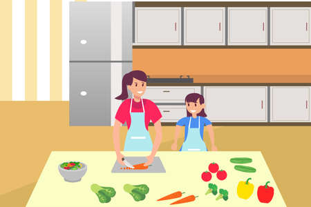 Illustration pour Family time vector concept: portrait of mother and daughter cooking vegetables together in the kitchen - image libre de droit