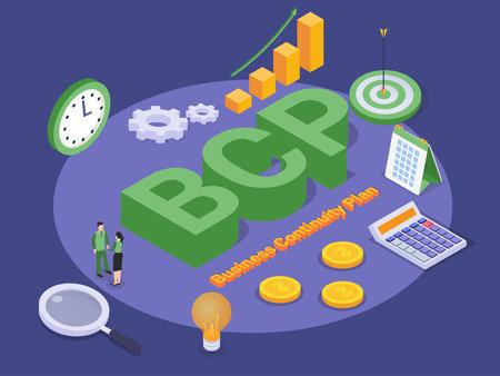 Illustration pour Business Continuity Plan (BCP) isometric 3d vector concept for banner, website, illustration, landing page, flyer, etc. - image libre de droit