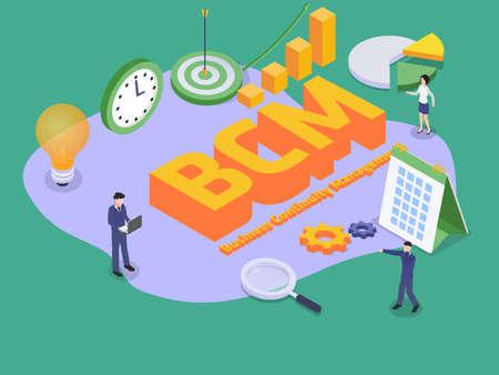 Illustration pour Business continuity management BCM 3D flat isometric vector concept for banner, website, illustration, landing page, flyer, etc. - image libre de droit