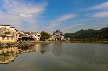 In 2011, lake view in the village of xiugu, in yixian county, anhui province.