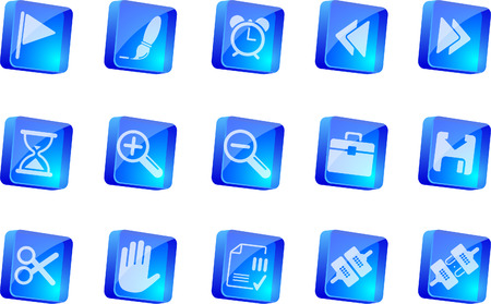 Toolbar and Interface icons   blue transparent box series
