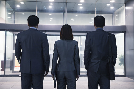 Three business people standing in a row, rear view