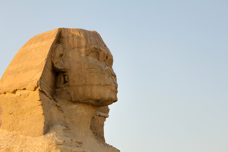 Detail of the Sphinx horizontally with blue sky