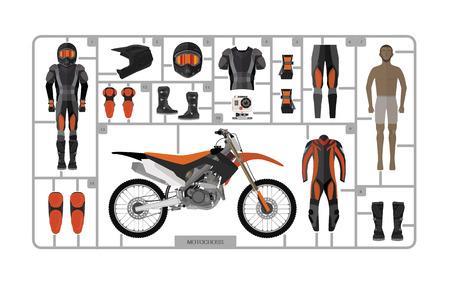 Illustration pour Motocross bike silhouette with helmet isolated on white. - image libre de droit