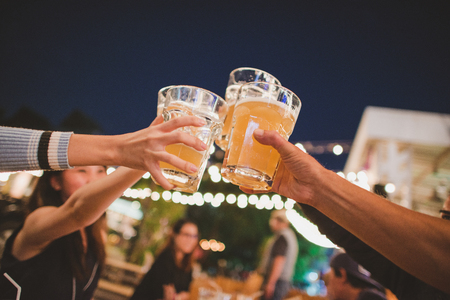 Cheers to the best friends,Group Of Friends Enjoying Evening Drinks,vintage style.