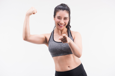 Foto de young fitness woman on white background. Active sporty life, wellness.healthy and lifestyle concept. - Imagen libre de derechos