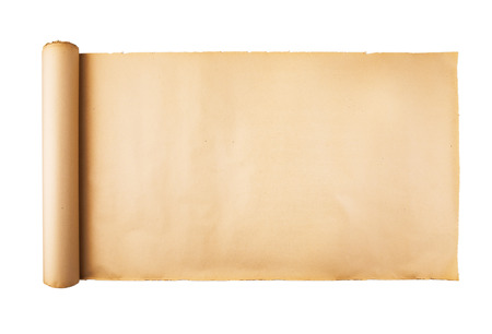 Photo for Old stressed paper scroll on white background isolated. Horizontal background, empty space, room for text, copy, lettering, map. - Royalty Free Image