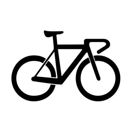 Ilustración de Bicycle flat icon isolated on white background, concept of road race, eco-friendly and healthy - Imagen libre de derechos