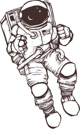 Illustration pour United States astronaut wearing a space suit.  - image libre de droit