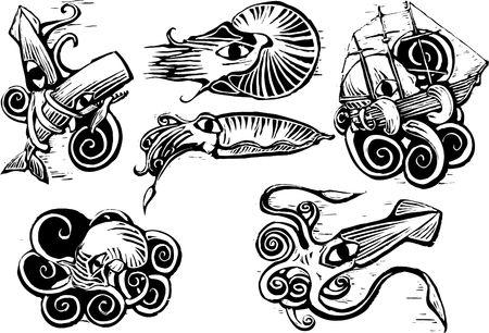 Group of aquatic animals with squids, nautilus, cuttlefish and octopus in retro woodcut image.