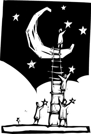 People on a ladder resting against a moon put stars in the sky.