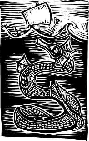Sea serpent under a boat on the ocean.