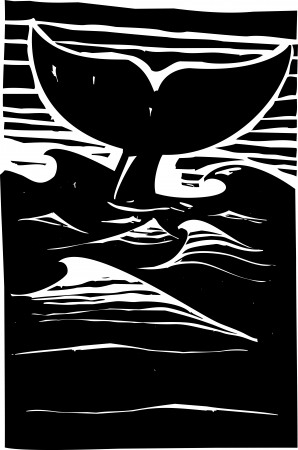 Expressionist woodcut style Whale tale or fluke rising above dark waves on the ocean