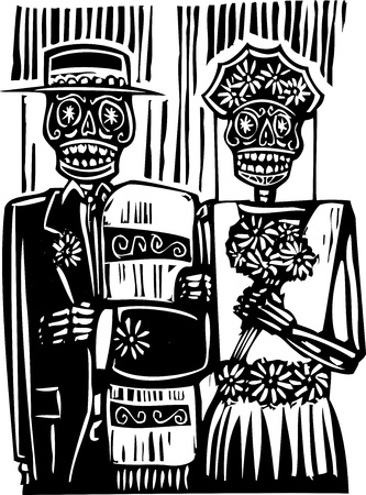 woodcut style Mexican day of the dead wedding image with groom and bride