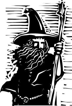 Woodcut style image of a magical wizard holding a staff