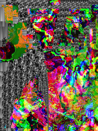 Foto de Retro-style 3D art. Vintage technology background. Trendy futuristic digital graffiti wallpaper, glowing rgb cmyk colors. . Abstract stripes - Imagen libre de derechos