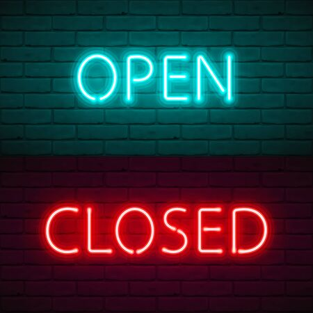 Illustration pour OPEN CLOSED lettering with bright neon glow on dark brick wall background. Vector Illustration typography for sign door of shop, cafe, bar or restaurant, night club. Quarantine closure information. - image libre de droit