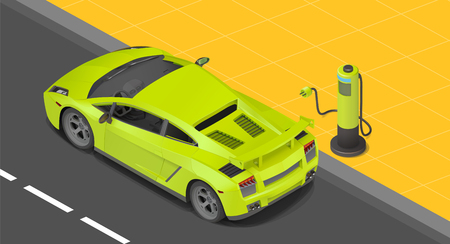 Illustration pour Electric sport coupe car charging station. power supply for Charging of an electric car. Recharging an electric car isometric view. - image libre de droit