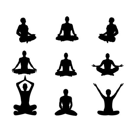 Set of vector illustration Basic meditation Poses