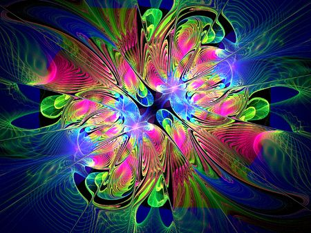 Beautiful fractal floral art rendered on black.