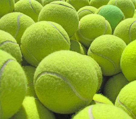 A pile of tennis balls.