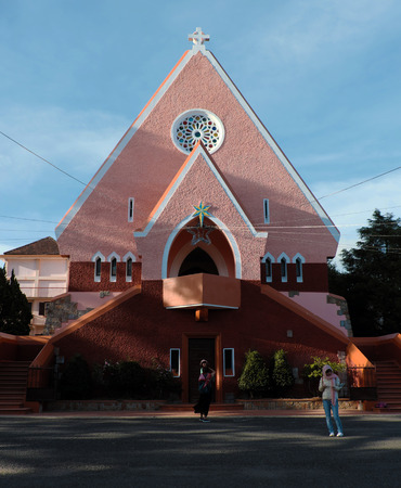 DALAT, VIET NAM- DEC 27, 2016: Ancient French architecture at Da Lat for Vietnam tourism, Domaine de maria church on day, a famous place for travel with old building, Vietnam
