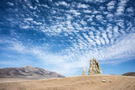 Antofagasta, April 6: Rains in the Atacama Desert washed away graffiti from the sculpture Hand of Desert (Mano de Desierto) April 6, 2014, in the Atacama Desert near Antofagasta, Chile