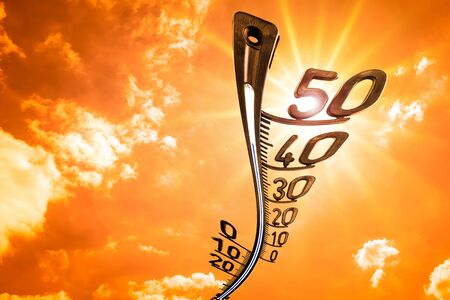 Photo for Sky with clouds, sun and thermometer - background for hot summer or heat wave - Royalty Free Image