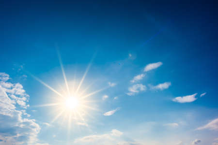 Foto de Summer background, wonderful blue sky with bright sun - Imagen libre de derechos