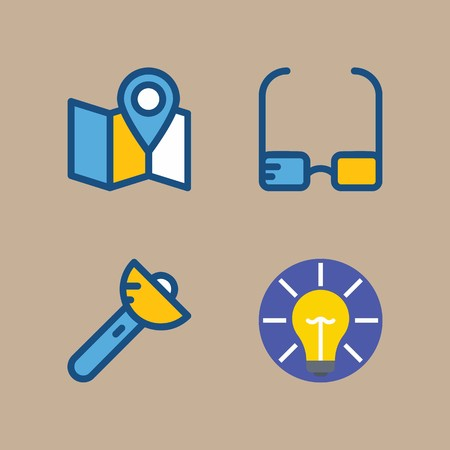 icon set about beach and camping with idea, flashlight and glasses