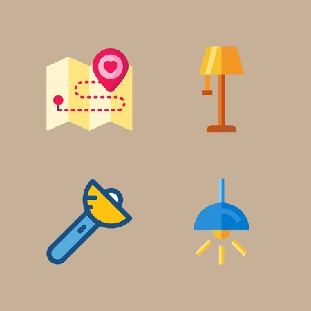 icon set about beach and camping with map, lamp and flashlight