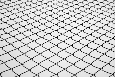 Photo pour Abstract image of selective focus at iron fence with sky in black and white tone. - image libre de droit
