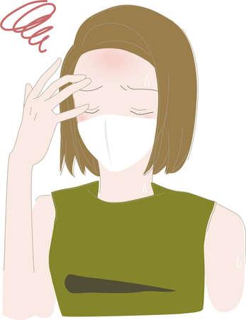 Illustration pour Summer Mask Heat Stroke Woman - image libre de droit